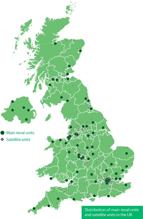 Distribution of main renal units and satellite units in the UK